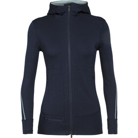 Icebreaker Quantum II T-shirt manches longues à capuche avec demi-zip Femme, midnight navy